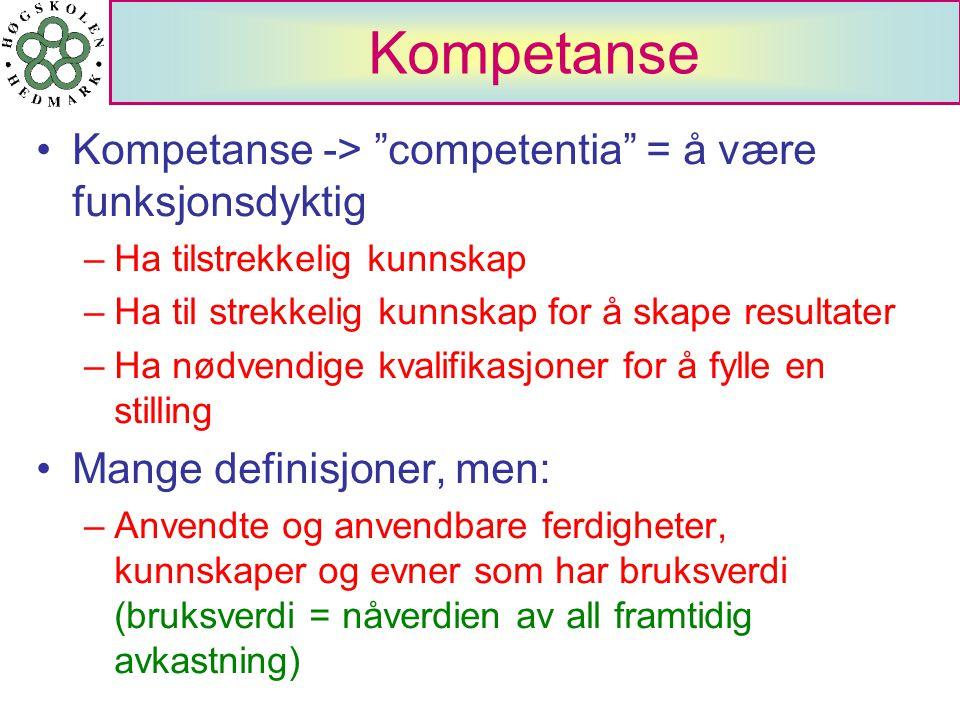 Kompetanse Kompetanse -> competentia = å være funksjonsdyktig