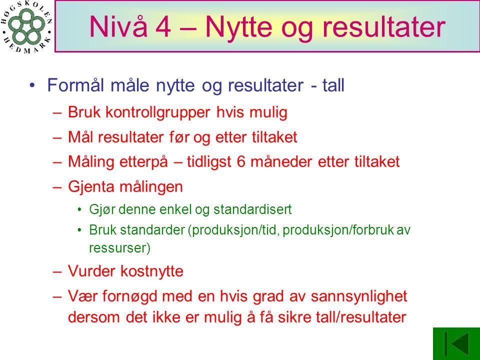 Nivå 4 – Nytte og resultater