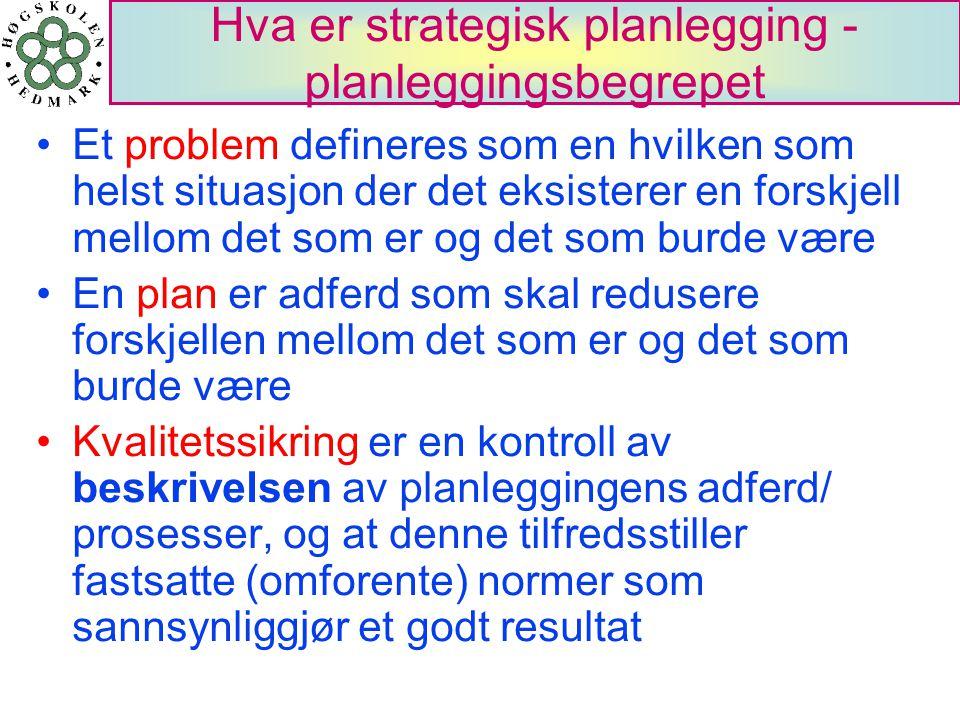 Hva er strategisk planlegging - planleggingsbegrepet