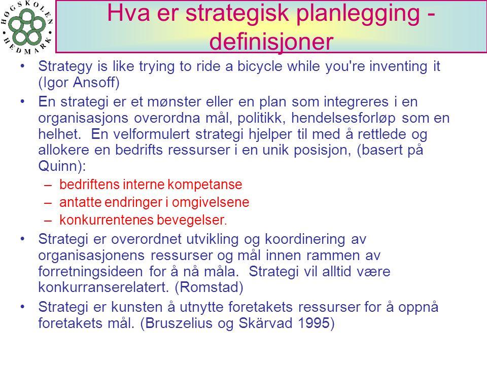 Hva er strategisk planlegging - definisjoner