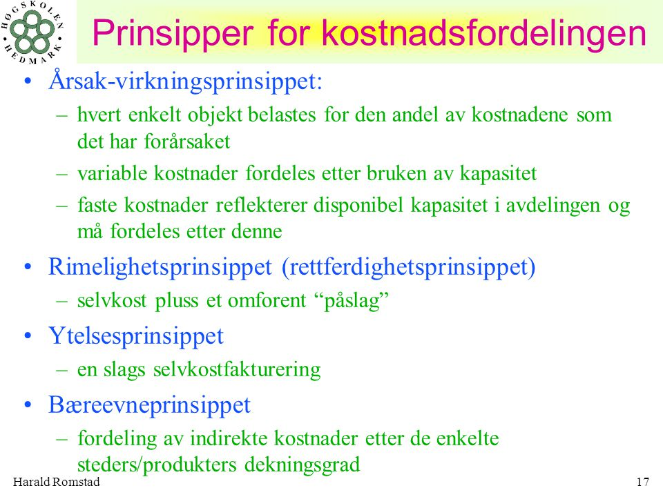 Prinsipper for kostnadsfordelingen