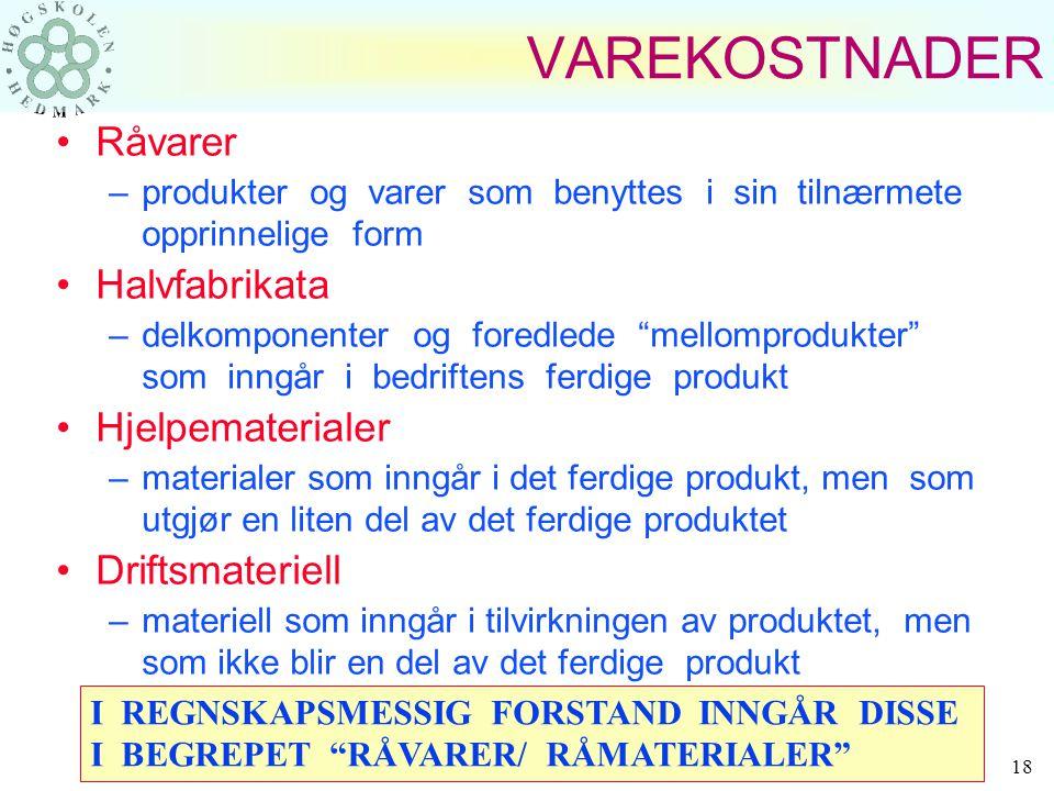 VAREKOSTNADER Råvarer Halvfabrikata Hjelpematerialer Driftsmateriell
