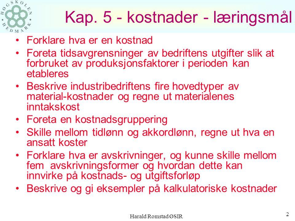 Kap. 5 - kostnader - læringsmål
