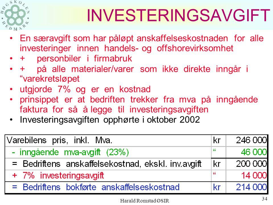INVESTERINGSAVGIFT En særavgift som har påløpt anskaffelseskostnaden for alle investeringer innen handels- og offshorevirksomhet.