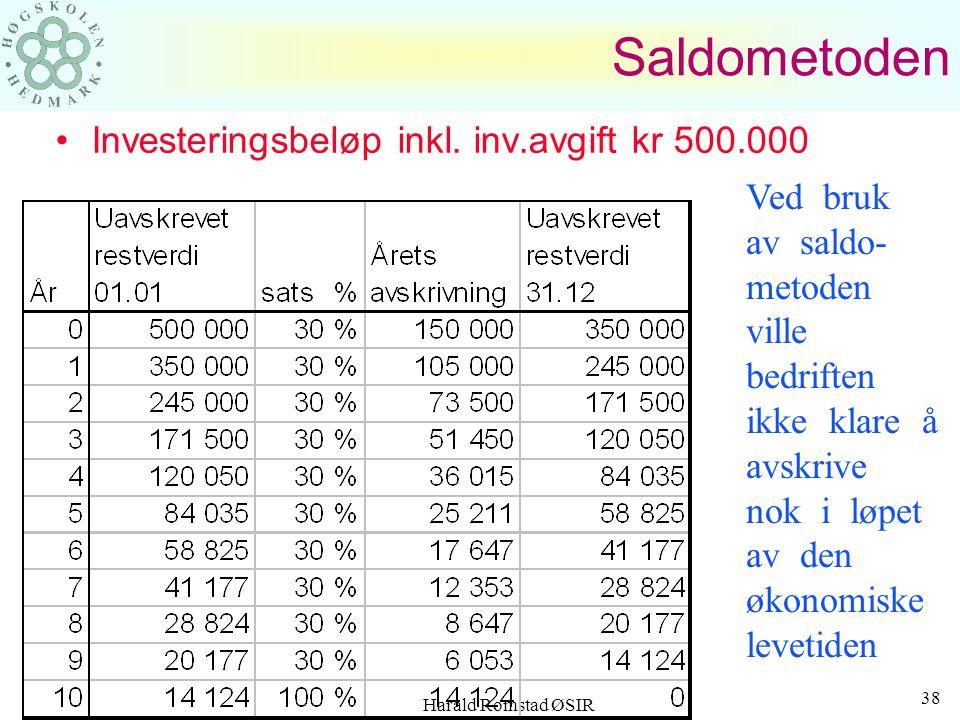 Saldometoden Investeringsbeløp inkl. inv.avgift kr 500.000