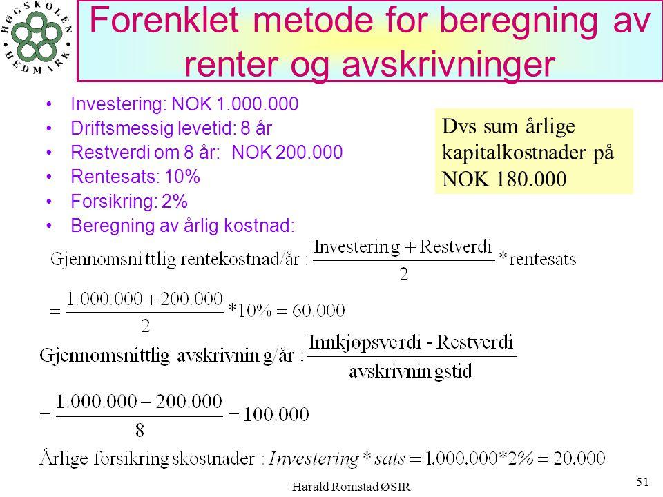 Forenklet metode for beregning av renter og avskrivninger