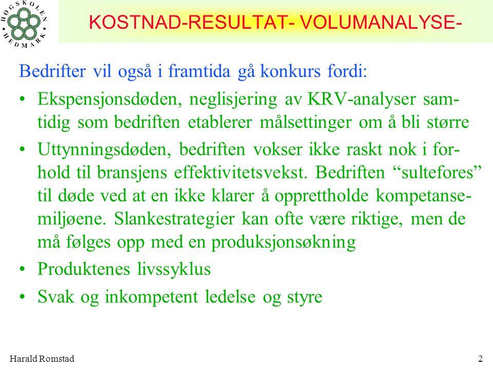 KOSTNAD-RESULTAT- VOLUMANALYSE-