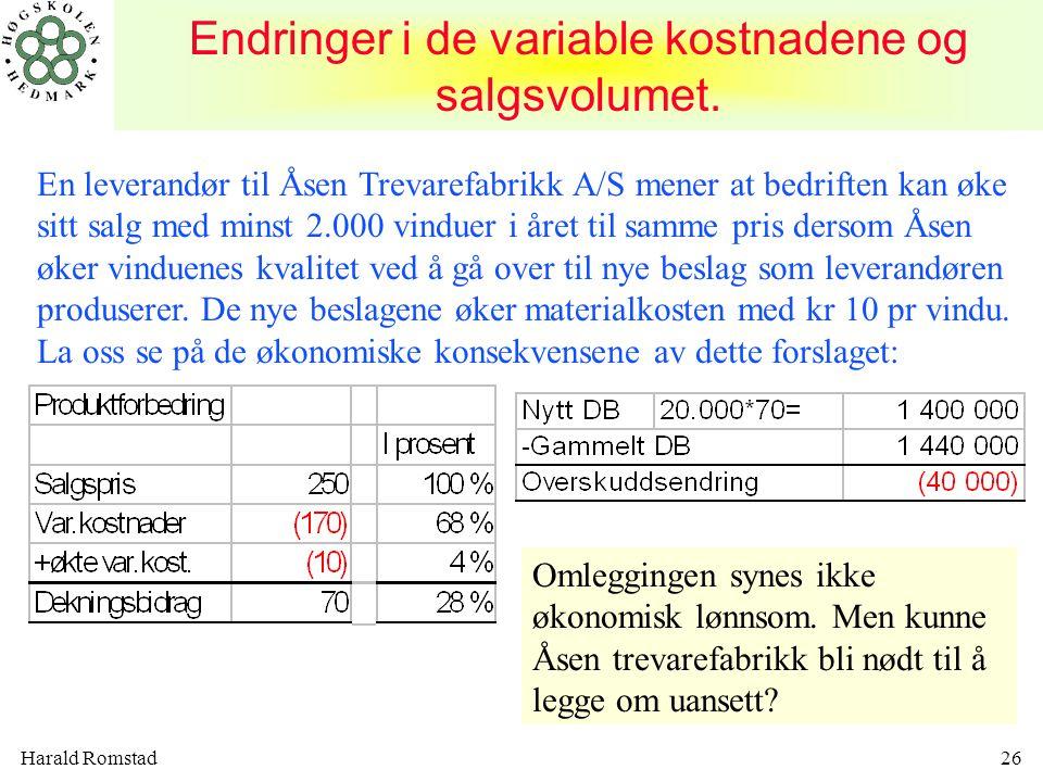 Endringer i de variable kostnadene og salgsvolumet.