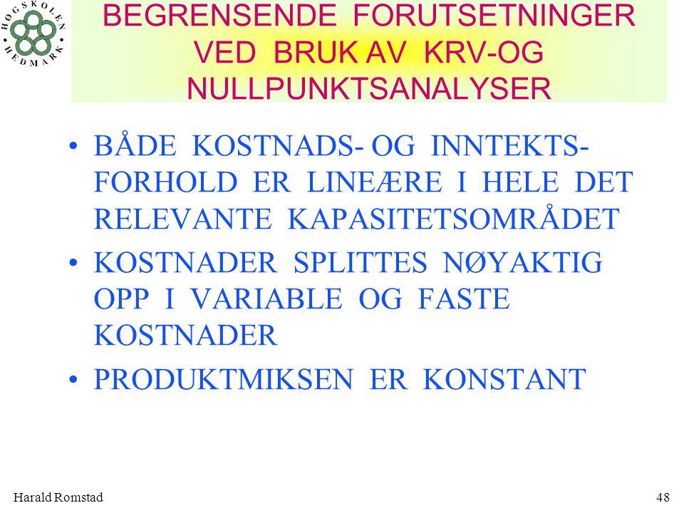 BEGRENSENDE FORUTSETNINGER VED BRUK AV KRV-OG NULLPUNKTSANALYSER
