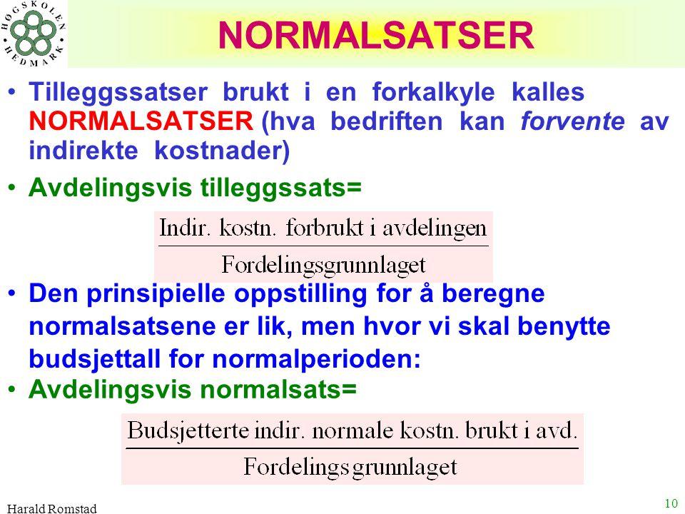 NORMALSATSER Tilleggssatser brukt i en forkalkyle kalles NORMALSATSER (hva bedriften kan forvente av indirekte kostnader)