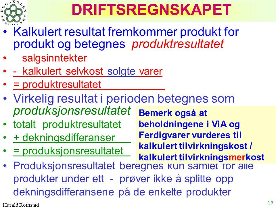DRIFTSREGNSKAPET Kalkulert resultat fremkommer produkt for produkt og betegnes produktresultatet. salgsinntekter.