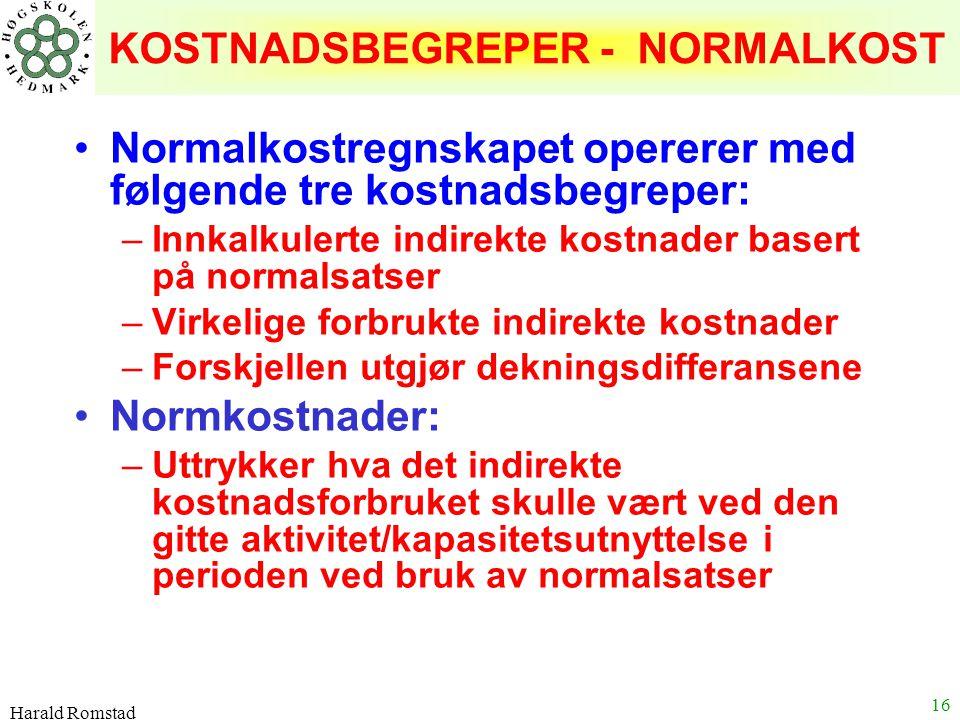 KOSTNADSBEGREPER - NORMALKOST