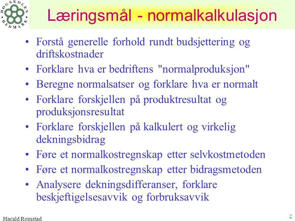 Læringsmål - normalkalkulasjon