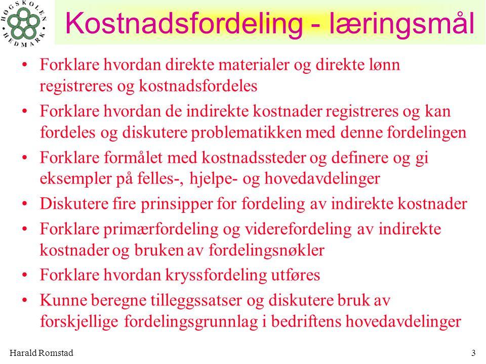 Kostnadsfordeling - læringsmål
