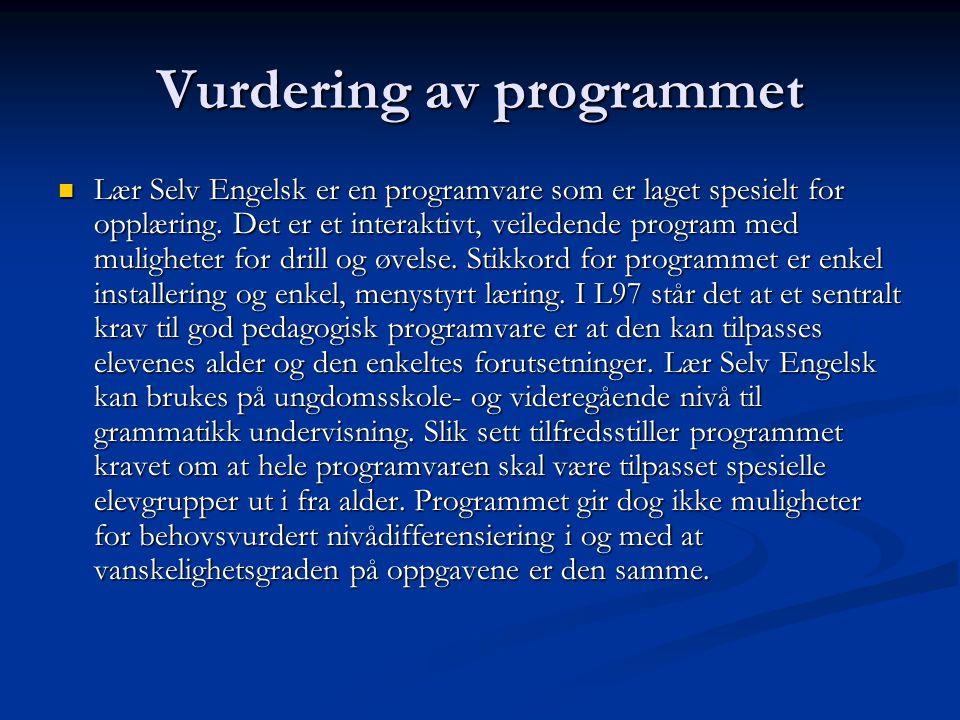 Vurdering av programmet