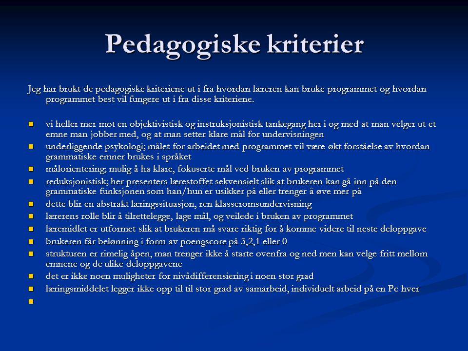 Pedagogiske kriterier