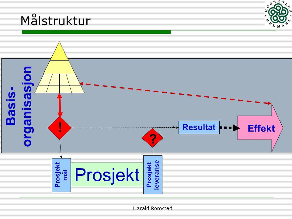Prosjekt Basis-organisasjon ! Målstruktur Effekt Resultat
