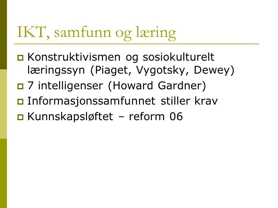 IKT, samfunn og læring Konstruktivismen og sosiokulturelt læringssyn (Piaget, Vygotsky, Dewey) 7 intelligenser (Howard Gardner)