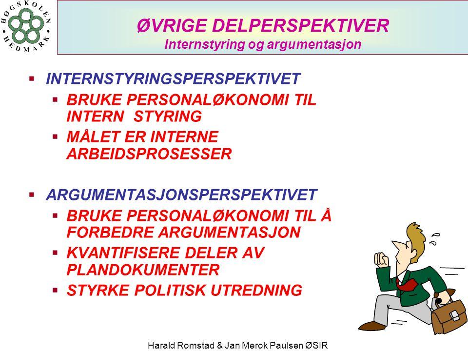 ØVRIGE DELPERSPEKTIVER Internstyring og argumentasjon