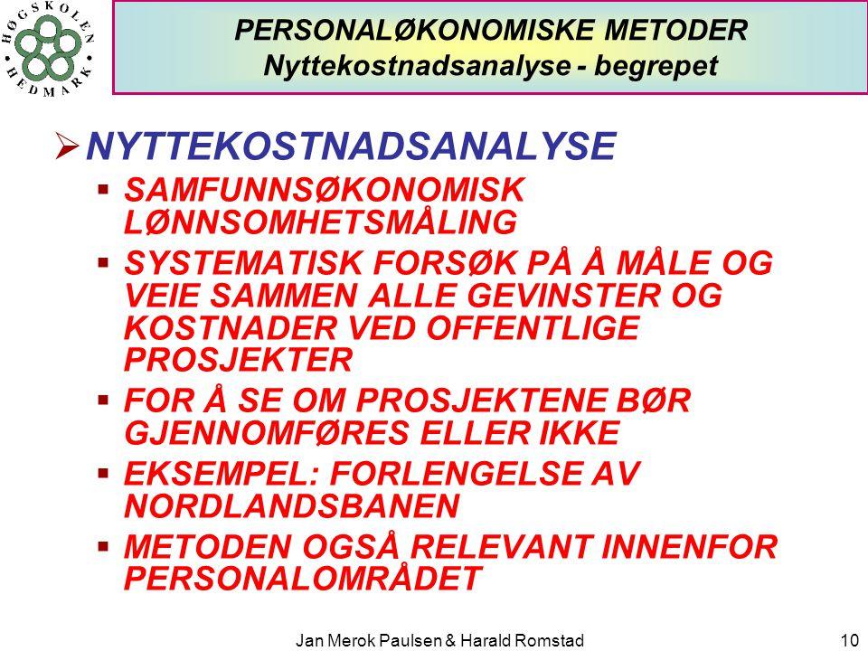 PERSONALØKONOMISKE METODER Nyttekostnadsanalyse - begrepet