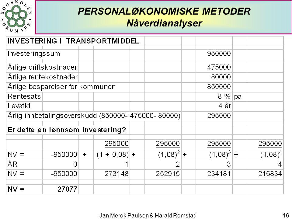 PERSONALØKONOMISKE METODER Nåverdianalyser