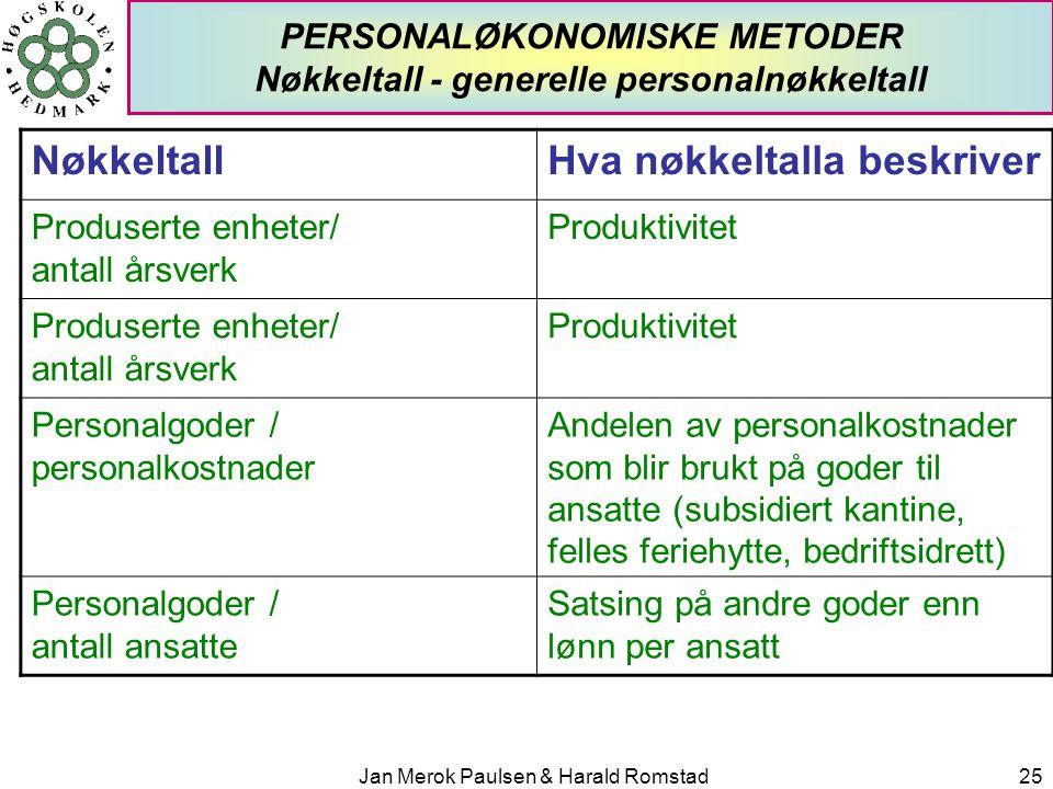 PERSONALØKONOMISKE METODER Nøkkeltall - generelle personalnøkkeltall
