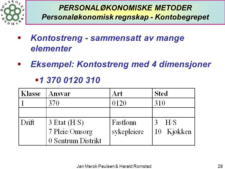PERSONALØKONOMISKE METODER Personaløkonomisk regnskap - Kontobegrepet