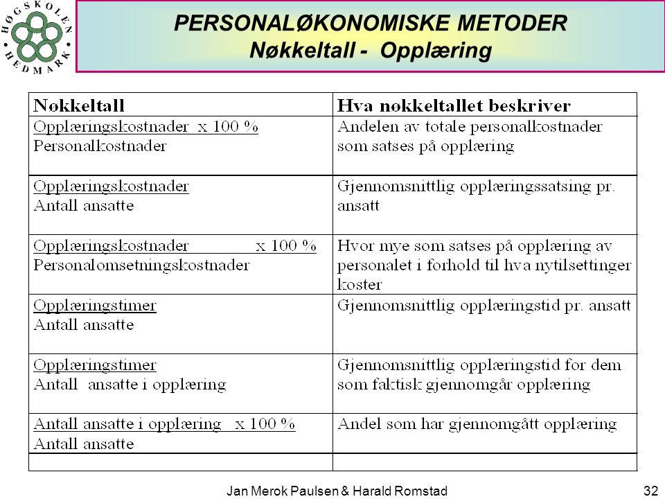 PERSONALØKONOMISKE METODER Nøkkeltall - Opplæring