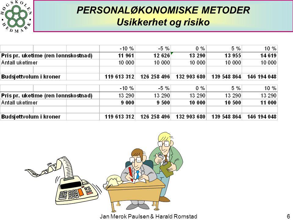 PERSONALØKONOMISKE METODER Usikkerhet og risiko