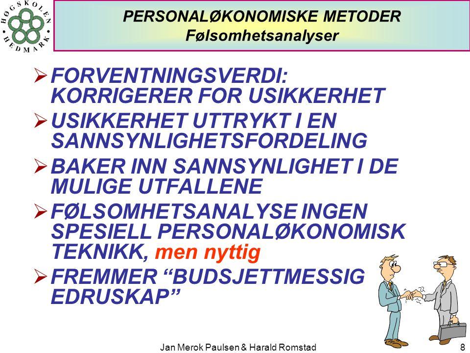 PERSONALØKONOMISKE METODER Følsomhetsanalyser