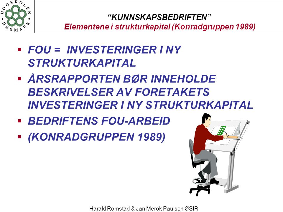 KUNNSKAPSBEDRIFTEN Elementene i strukturkapital (Konradgruppen 1989)