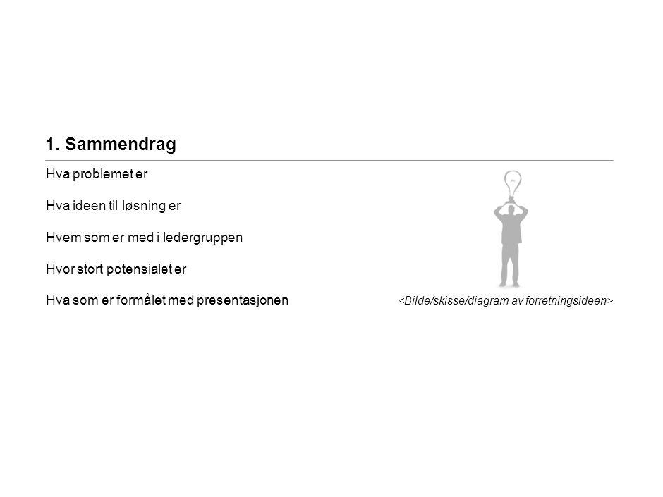 2. Forretningsideen <Problemet> …….. <Ideen> ……..