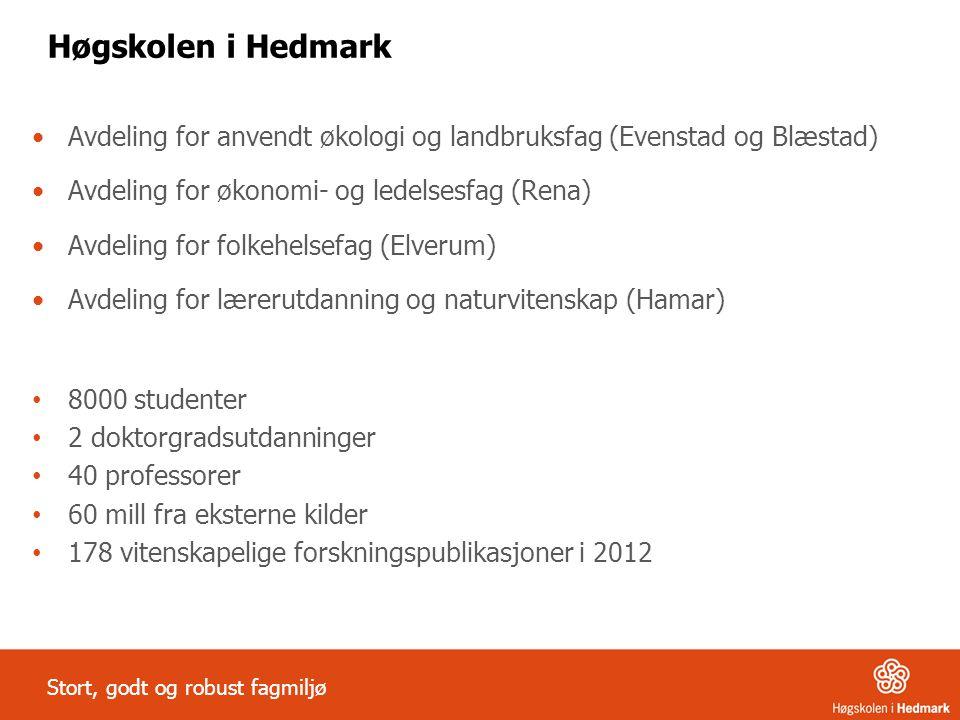 Høgskolen i Hedmark Avdeling for anvendt økologi og landbruksfag (Evenstad og Blæstad) Avdeling for økonomi- og ledelsesfag (Rena)