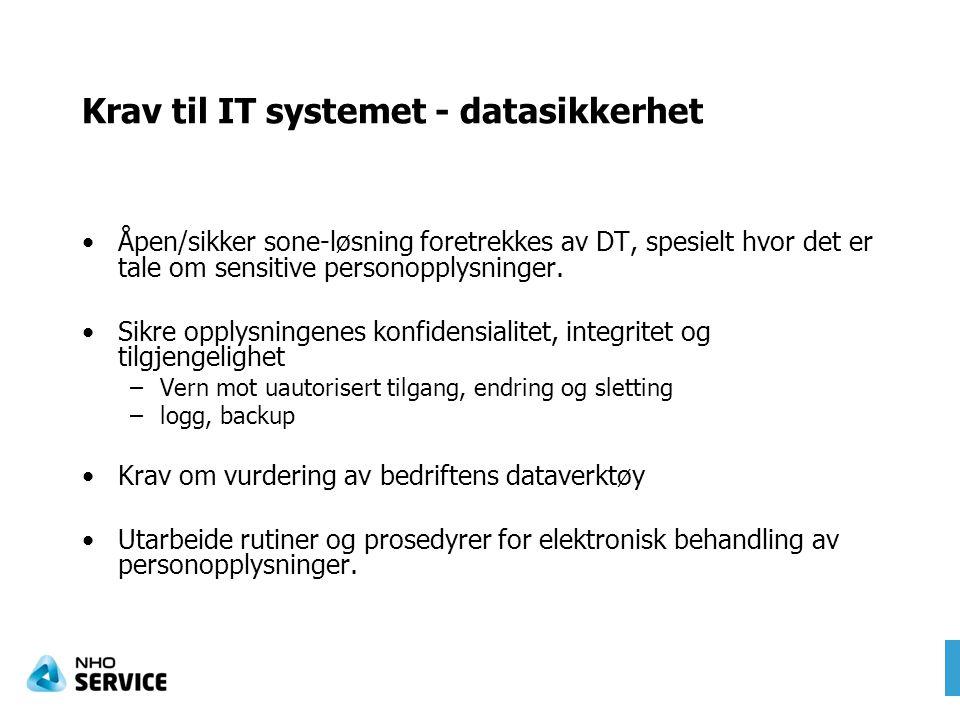 Krav til IT systemet - datasikkerhet