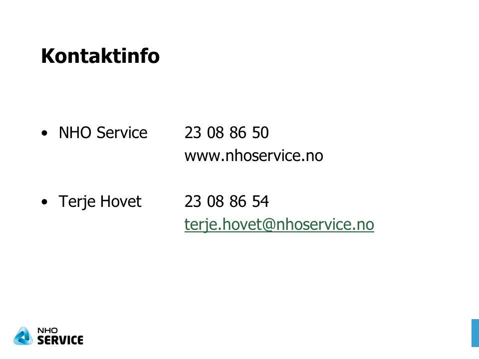 Kontaktinfo NHO Service 23 08 86 50 www.nhoservice.no