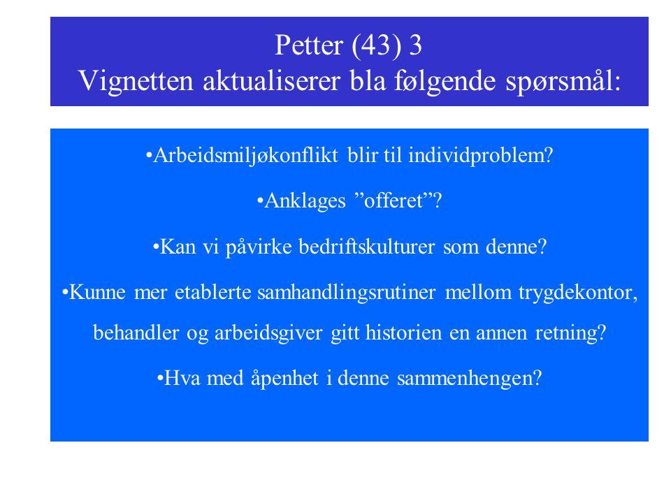 Petter (43) 3 Vignetten aktualiserer bla følgende spørsmål: