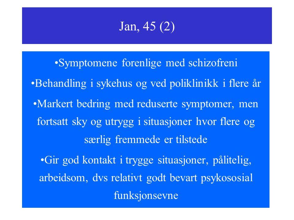 Jan, 45 (2) Symptomene forenlige med schizofreni