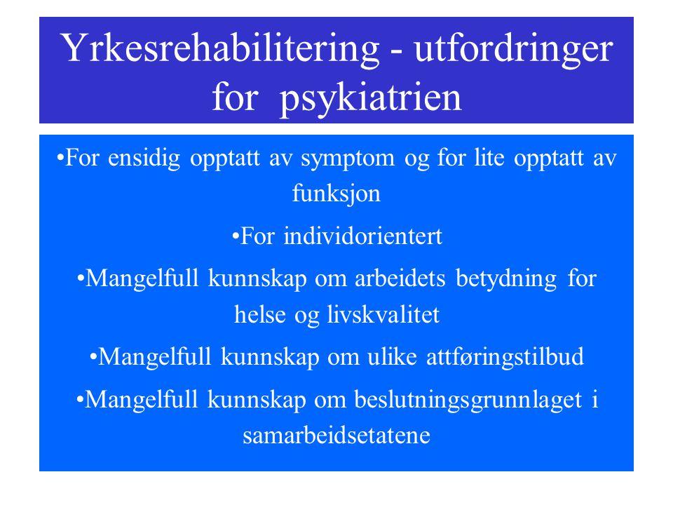 Yrkesrehabilitering - utfordringer for psykiatrien
