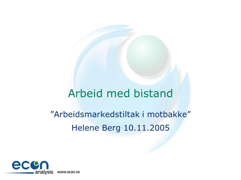 Arbeidsmarkedstiltak i motbakke Helene Berg 10.11.2005