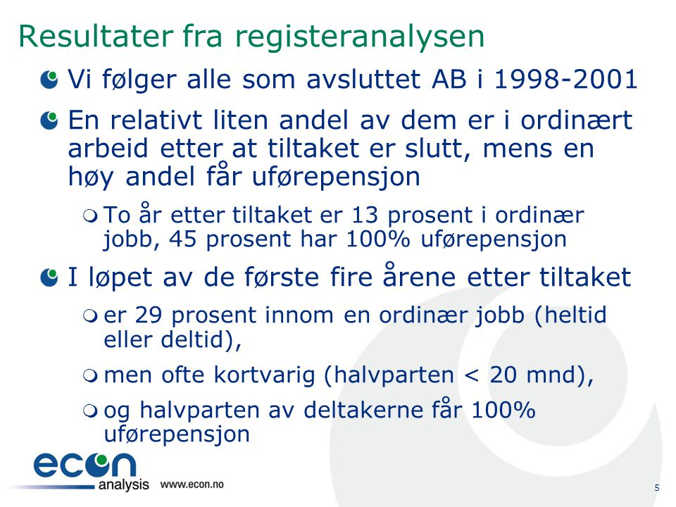 Resultater fra registeranalysen