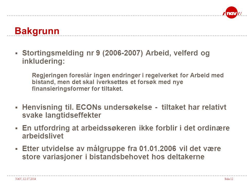 Bakgrunn Stortingsmelding nr 9 (2006-2007) Arbeid, velferd og inkludering: