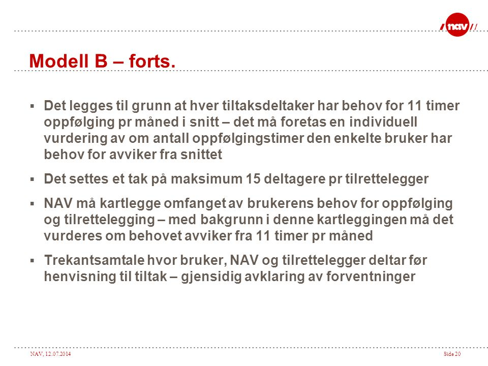 Modell B – forts.