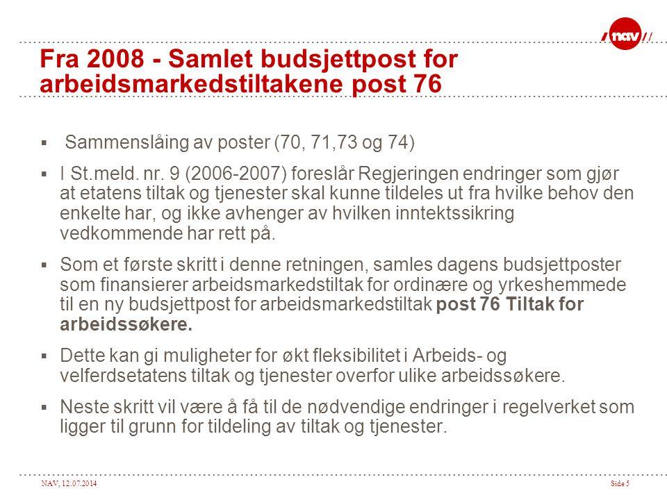 Fra 2008 - Samlet budsjettpost for arbeidsmarkedstiltakene post 76