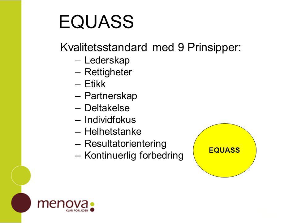 EQUASS Kvalitetsstandard med 9 Prinsipper: Lederskap Rettigheter Etikk