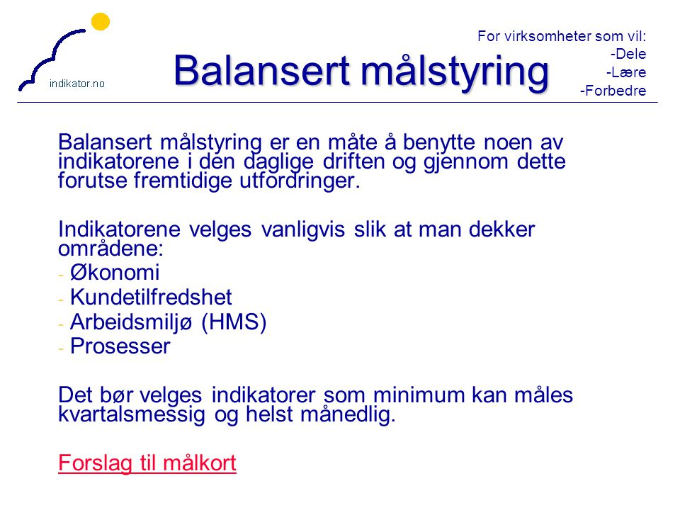 Balansert målstyring