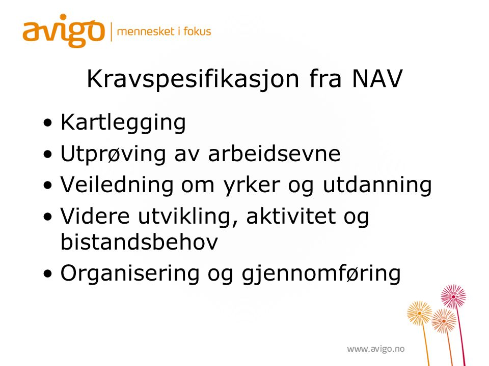 Kravspesifikasjon fra NAV
