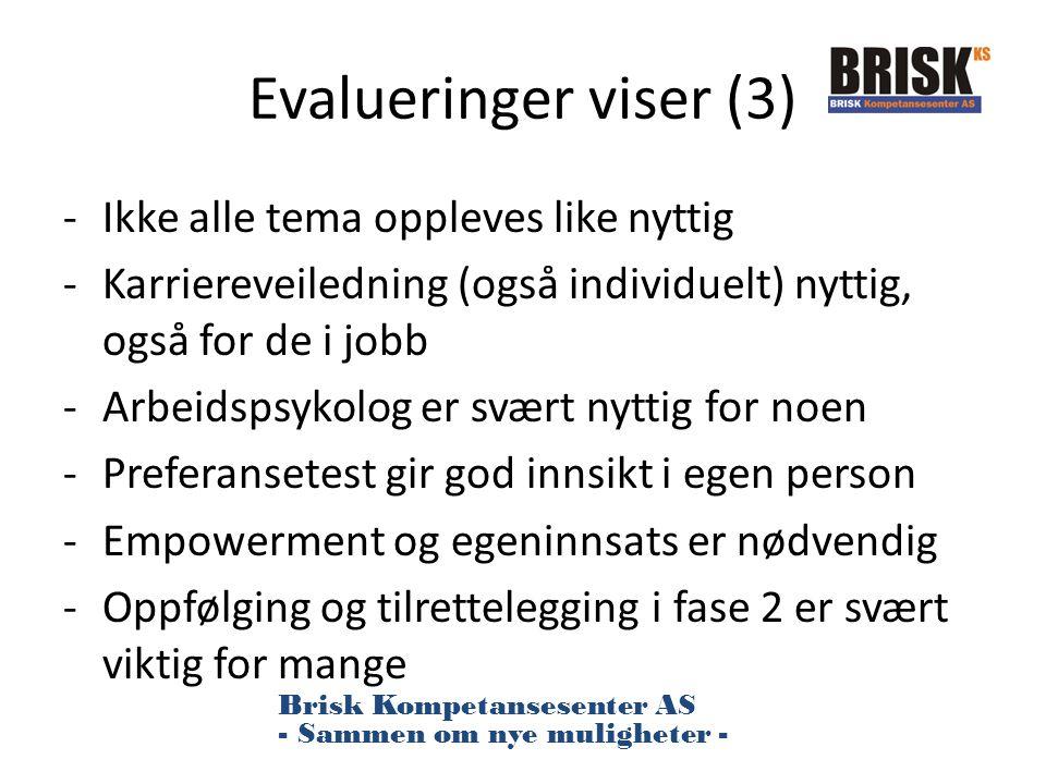 Evalueringer viser (3) Ikke alle tema oppleves like nyttig