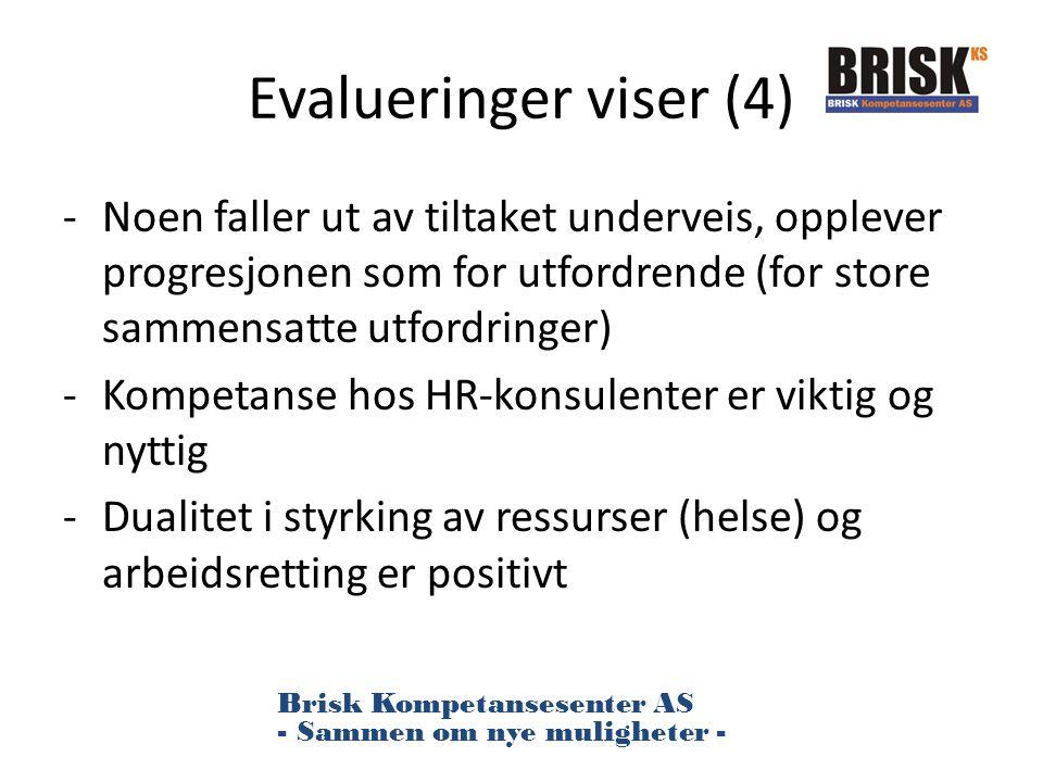 Evalueringer viser (4) Noen faller ut av tiltaket underveis, opplever progresjonen som for utfordrende (for store sammensatte utfordringer)