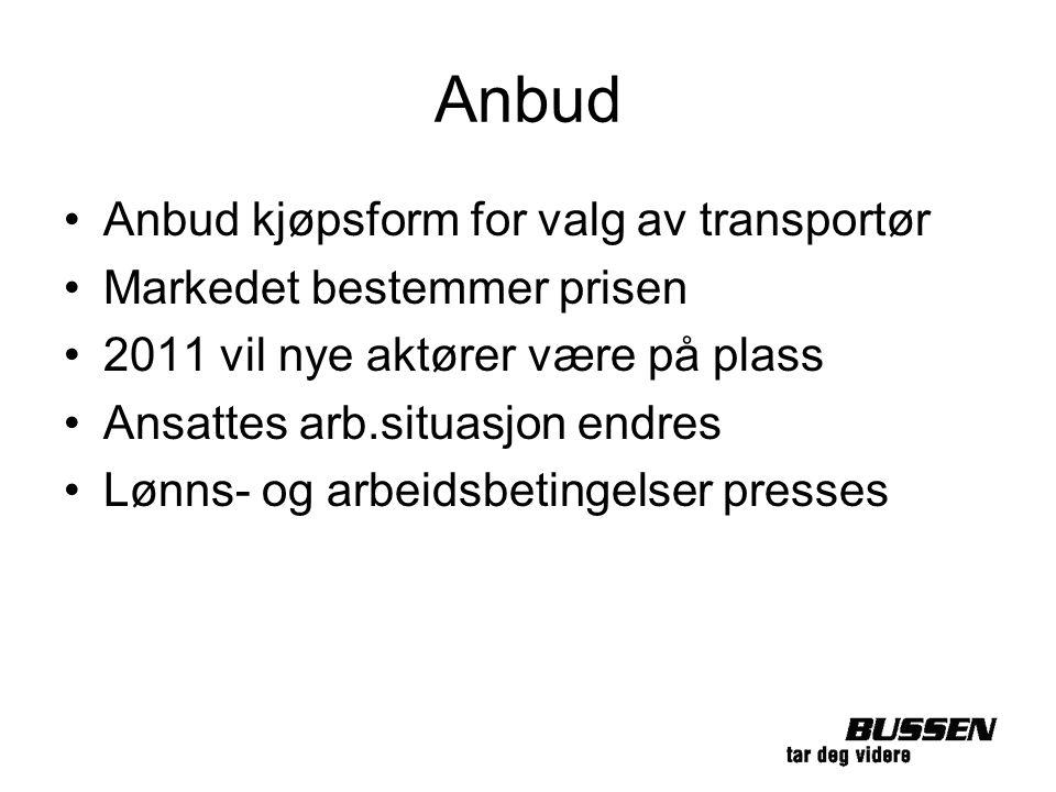 Anbud Anbud kjøpsform for valg av transportør