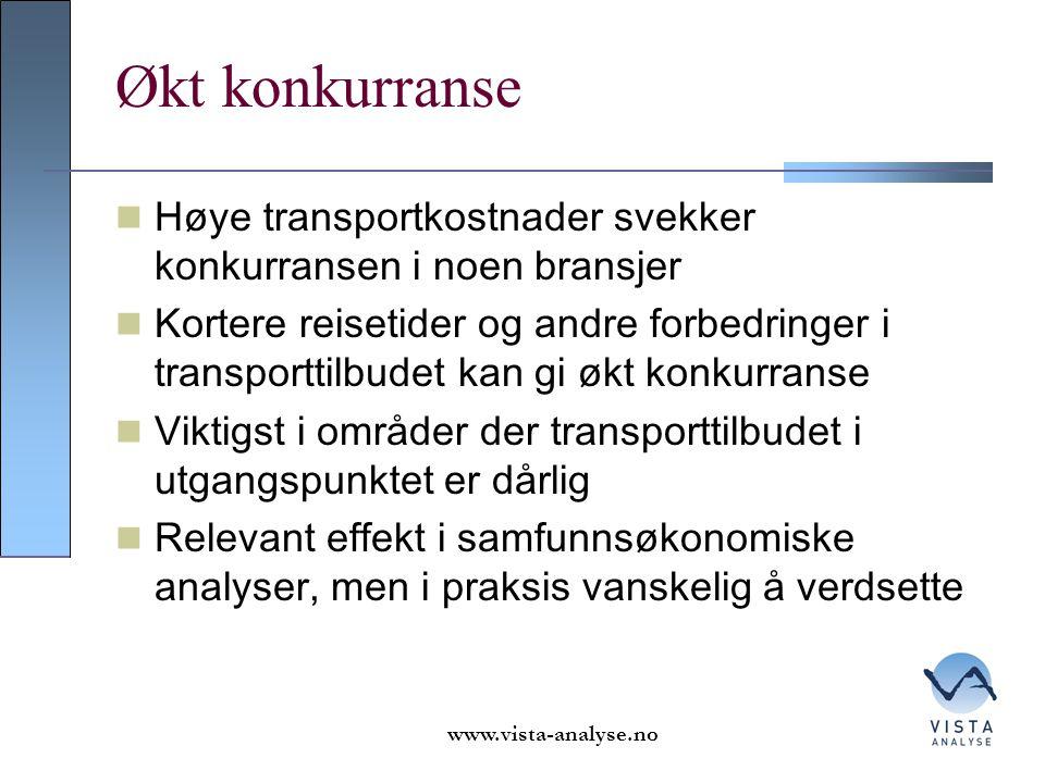 Økt konkurranse Høye transportkostnader svekker konkurransen i noen bransjer.